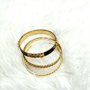 Set of 3 Black/Gold Bracelets